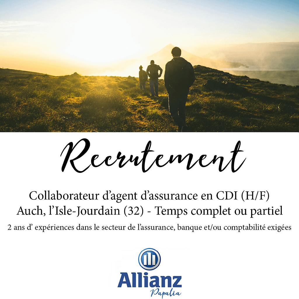 Recrutement d'un agent d'assurance en CDI sur Auch et l'Isle Jourdain.